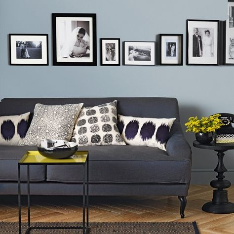 Pale blue and charcoal living room | Modern decorating ideas | Ideal Home | Housetohome.co.uk
