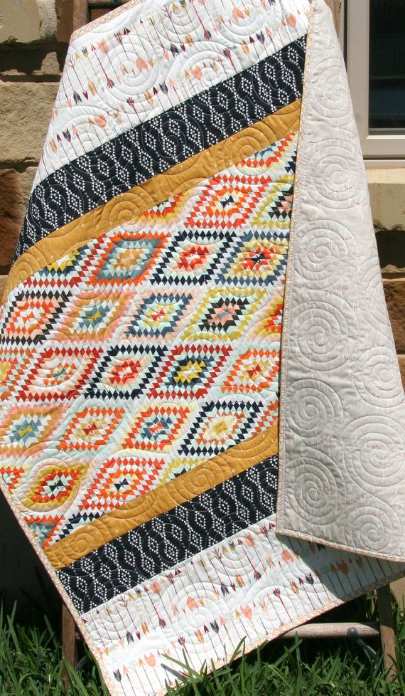 Aztec Baby Quilt, Boy or Girl Gender Neutral, Tribal Modern Trendy, Navy Blue Coral, Baby Bedding, Nursery Blanket, Arrows, Toddler Quilt by SunnysideDesigns2