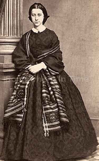 CDV Civil War Era Woman Hoop Dress With Shawl Whitaker Philadelphia PA-