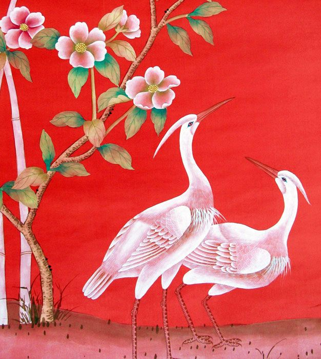 Chinoiserie Papers » Mandalay Garden   Griffin & Wong   Elegance in Silk Hand Painted Wallpaper Design