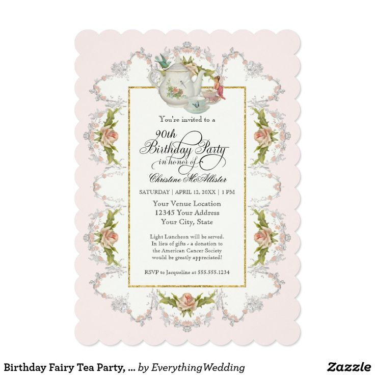 Birthday Fairy Tea Party, Roses Teapot n Cups Card Celebrate a milestone birthday with this delightfully whimsical and yet elegant birthday invitation. In a modern contemporary color palette of soft dove grey, gold glitter and blush pink, this invite has a lace like outer border with rose clusters forms a frame for this invitation set. The background is set to hex#fef0ed a barely there blush pink but can easily be changed to a color of your own choosing.