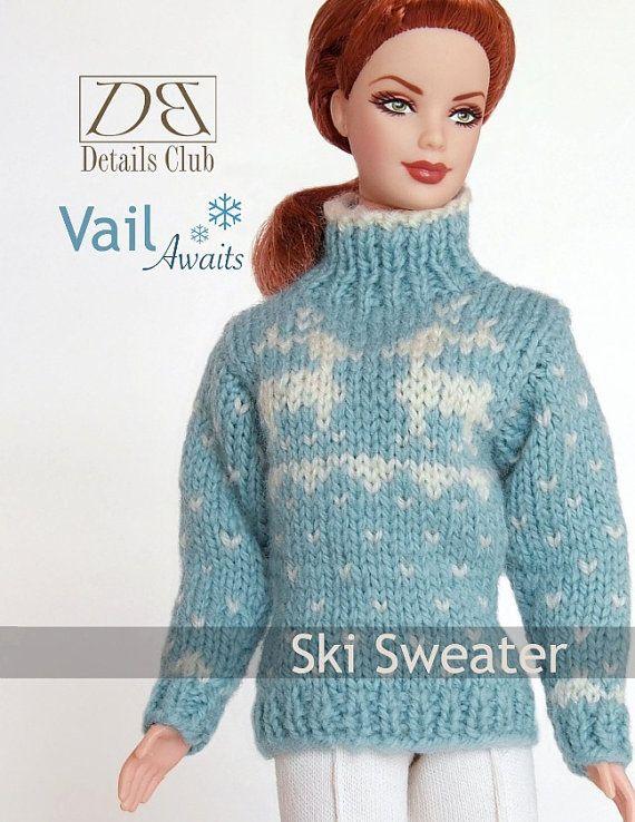 Knitting pattern for 11 1/2 doll Barbie Ski by DBDollPatterns, $7.00