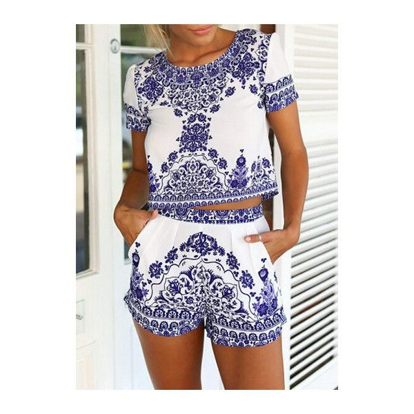 Blue and White Porcelain Two Piece Romper ($21) ❤ liked on Polyvore featuring jumpsuits, rompers, romper, outfit, white, print romper, short sleeve romper, white romper, playsuit romper and white rompers