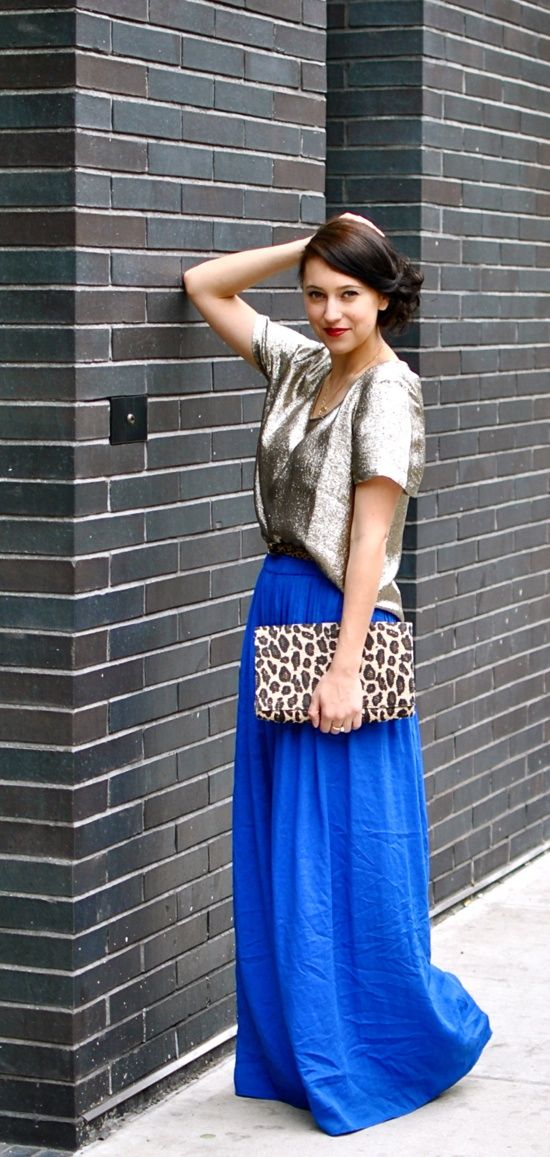 floor length blue skirt and shimmer blouse