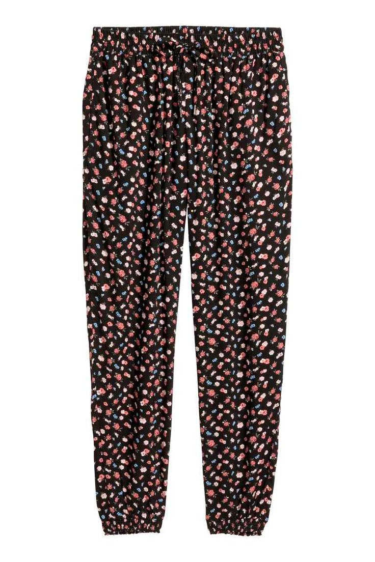Pull-on broek - Zwart/bloemen - DAMES | H&M NL