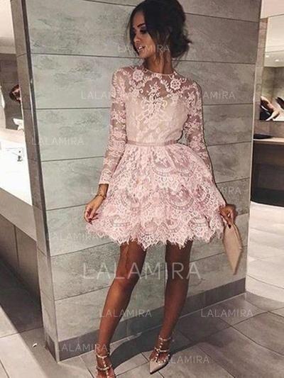 01096d78b0c7 [US$ 127.00] A-Line/Princess Scoop Neck Short/Mini Lace Homecoming Dresses  With Sash (022212426)