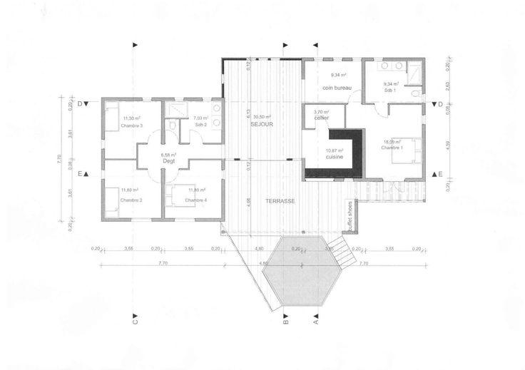 Plan de maison Moderne IGC Construction - plan maison 5 chambres + - plan maison plain pied  chambres  bureau