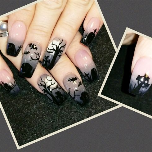 Spooky cemetery  by Oli123 from Nail Art Gallery