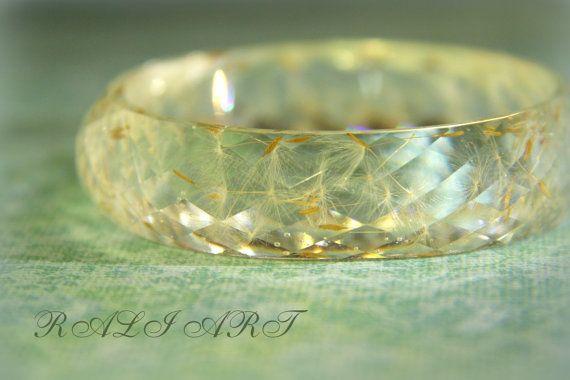 Christmas gift bracelet Resin bracelet dandelion by RALIJEWELLERY