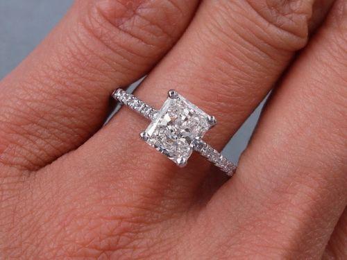 1 42 Carats Ct TW Radiant Cut Diamond Engagement Ring H SI1 | eBay