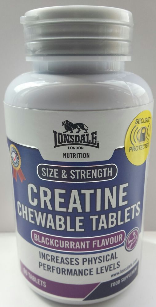 Lonsdale Nutrition Creatine Chewable Tablets Blackcurrant Flavour X 60 Increases Physical Performance Levels. Great for Strength training and Physical endurance. Great tasting chewable tablets. Directions for use - Take 4 Tablets daily with food. Each Tablet is 833 mg ( very strong ) Please take a look at my other items for Sale .... | eBay!