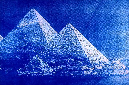 "Egyptian Princess 2 1999 Cyanotype on Canvas 42"" x 28"" x 2"""