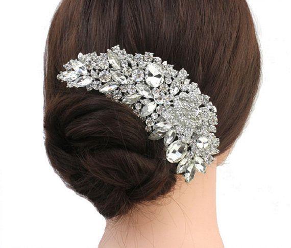 Bridal Hair Comb Bride Rhinestone Comb Wedding by DesignByIrenne