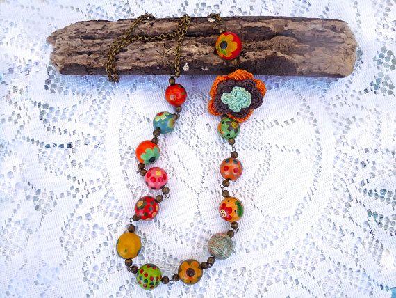 Collana Bohemian con perle di legno dipinte a mano, collana colorata, collana divertente, collana stravagante, Boho collana, idea regalo