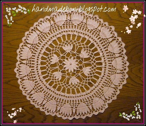 HandmadeBoni: Różowa okrągła serwetka. Tutorial.