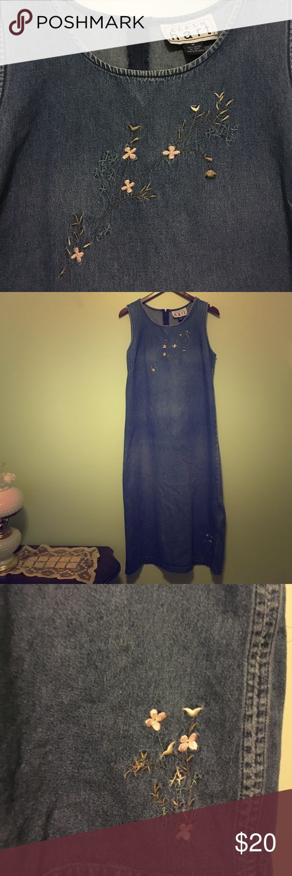 Vintage Denim dress Denim is faded throughout dress, as you can see in the picture, but the shape of the dress still holds keren hart Dresses Maxi