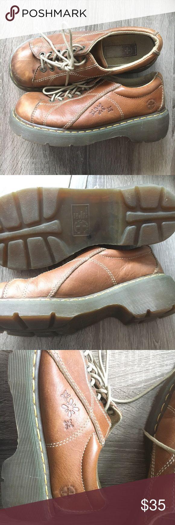 Doc Martens - size 9 - Vintage - floral imprint Vintage dr martens brown leather with floral imprint. Dr. Martens Shoes Lace Up Boots
