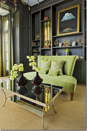 fabulous dark walls | lime sofa | amy howard