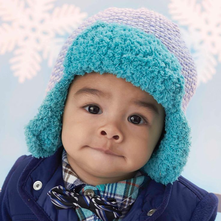 Bernat  Baby Sport and Pipsqueak  Trapper Hat #knit #pattern Knitting Pin...