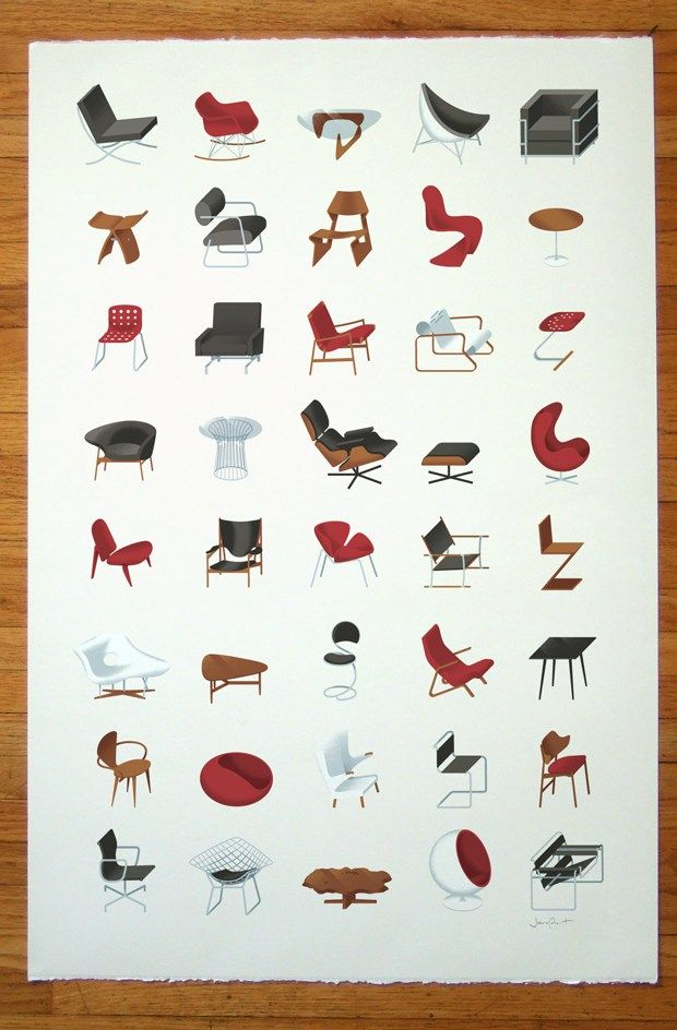 Mid-Century Modern Collection Print  A personal project by James Provost, this poster features his favorite mid-century modern futurniture which includes designs by Eames, Jacobsen, van der Rohe, le Corbusier, and more, forty pieces in all.