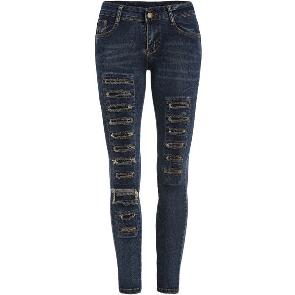 Ripped Denim Skinny Pant ($15) ❤ liked on Polyvore featuring pants and blue