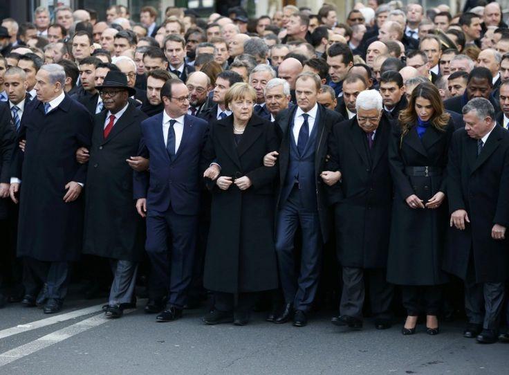 Anschlag auf Charlie Hebdo: Etwa 50 Staats- und Regierungschefs aus aller Welt sind gekommen und führen den Trauermarsch durch die französische Hauptstadt ...