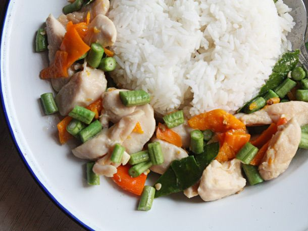 Thai Chicken-Green Bean Yellow Chili Stir-Fry recipe