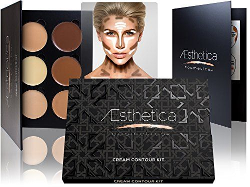 nice Aesthetica Cosmetics Cream Contour and Highlighting Makeup Kit - Contouring Foundation / Concealer Palette - Vegan, Cruelty Free & Hypoallergenic - Step-by-Step Instructions Included