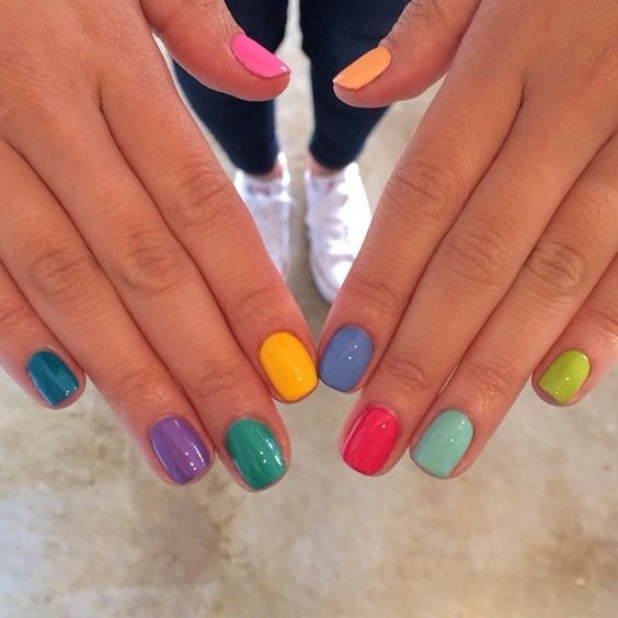 50 Most Cutest and Easy Light Colorful Nails Idea – Each Nail with Different Col…