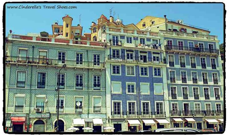 Colorful buildings in Lisbon closed to the train station Santa Apolonia