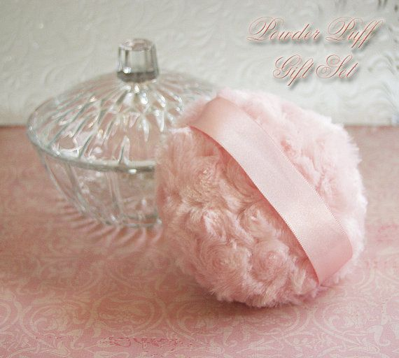 Using powder puffs. Powder Puff  GIFT SET (glass powder dish, powder, puff)   Blush Pink Plush
