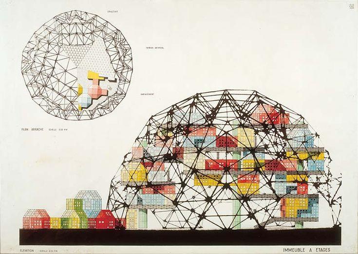 David George Emmerich, `Agglomération (sous une coupole stéréométrique)',1958-1960, Encre sur papier, 75 x 105.5 cm, Photographie: François Lauginie, Collection FRAC Centre, Orléans.