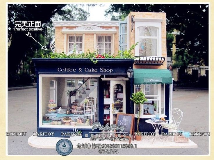 Miniature DIY Coffee Cafe Cake Shop Dollhouse Craft Kit W Lights Home Decore