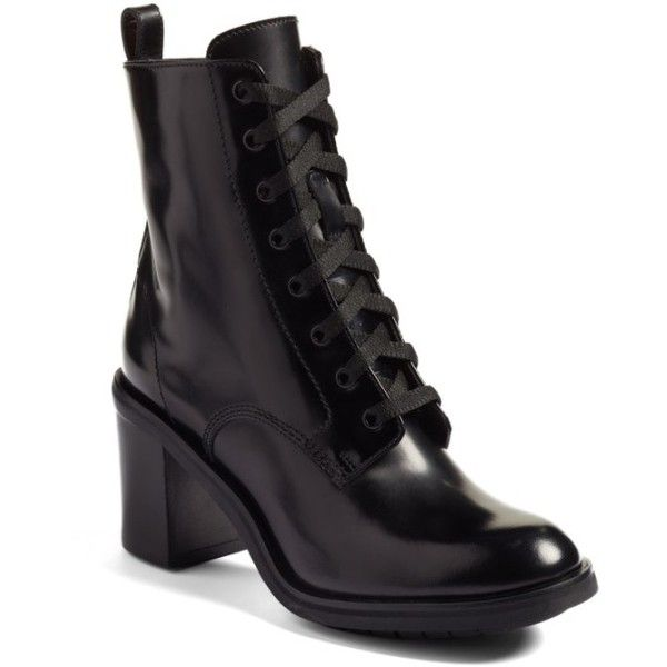 Women's Agl Urban Combat Boot (€380) ❤ liked on Polyvore featuring shoes, boots, black leather, leather combat boots, black leather boots, laced up boots, black military boots and leather boots