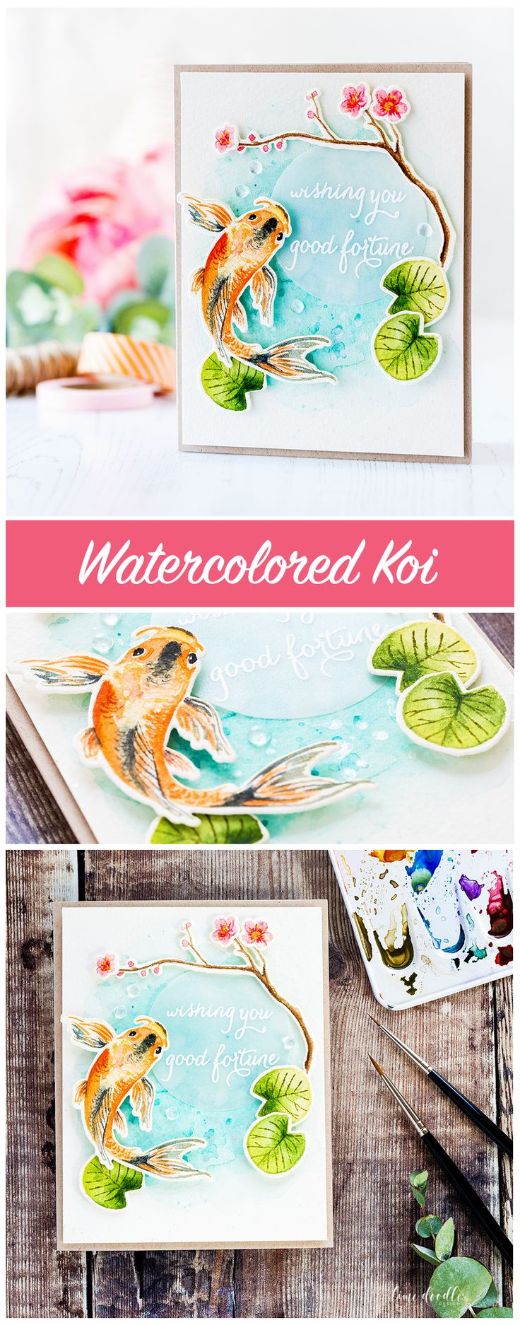 Watercolored koi and spring blossoms from Hero Arts by Debby Hughes. Find out more about this card by clicking on the following link: http://limedoodledesign.com/2017/02/hero-arts-2017-catalog-reveal-blog-hop-card-drive/