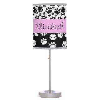 Your Name Dog Paws Traces White Black Pink Desk Lamp