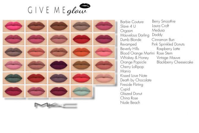 Liquid lipsticks set at MAC Cosimetics via Sims 4 Updates