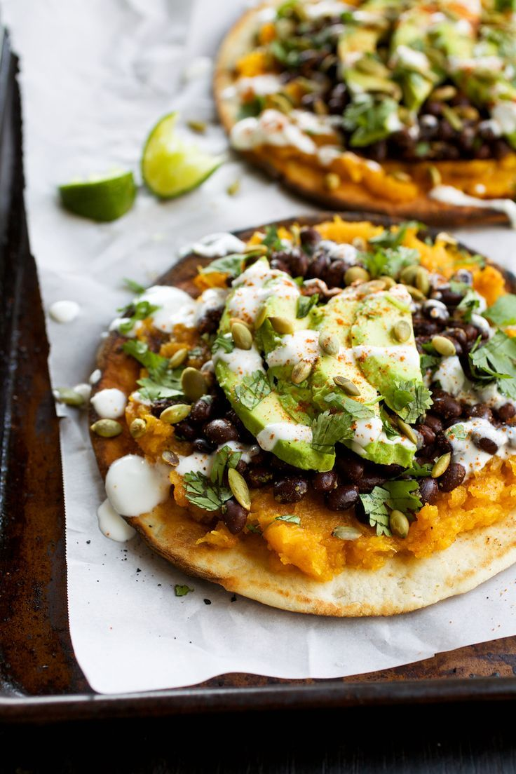 Pita Tostadas with Butternut Squash, Black Beans, & Avocado:
