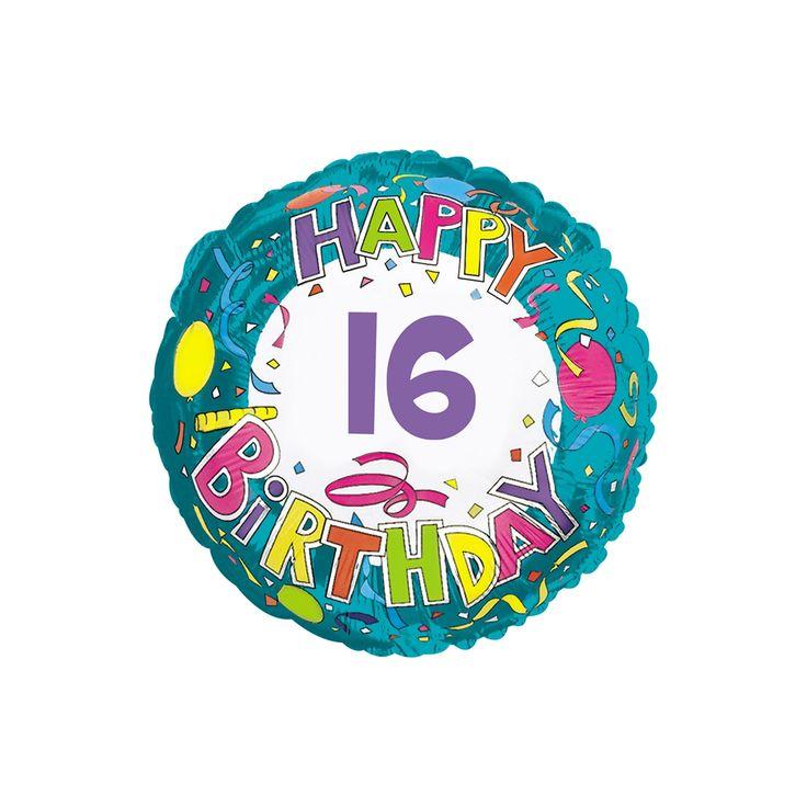 Happy Birthday 16 Mylar Balloon,
