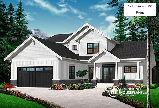 Color version 2 - Front Craftsman Bungalow, 4 bedrooms, home office for 2, open floor plan, pantry - Anniston 2