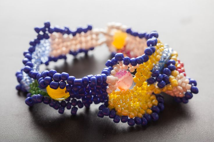 Handmade item.Beaded Bracelet.Freeform bracelet.Peyote stitch.One of the kind.Mariellas Code. by mariellascode on Etsy