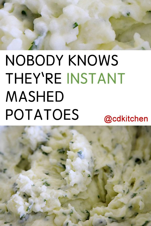 Pinky swear that we will keep your secret! Turn these instant potatoes into a creamy, mashed potato haven with cream cheese and our favorite friend, butter. No one will know they aren't boiled.  | CDKitchen.com