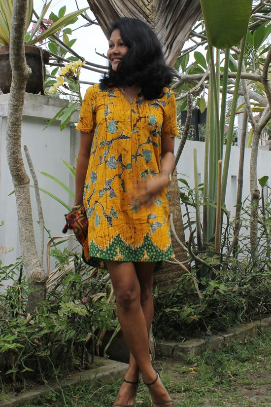 Yellow Batik dress, Short Batik Dress, Short Dress, Casual look, Batik, Batik Madura, Shirt dress