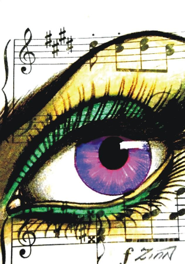 Purple Music Eye Drawing  - Purple Music Eye Fine Art Print