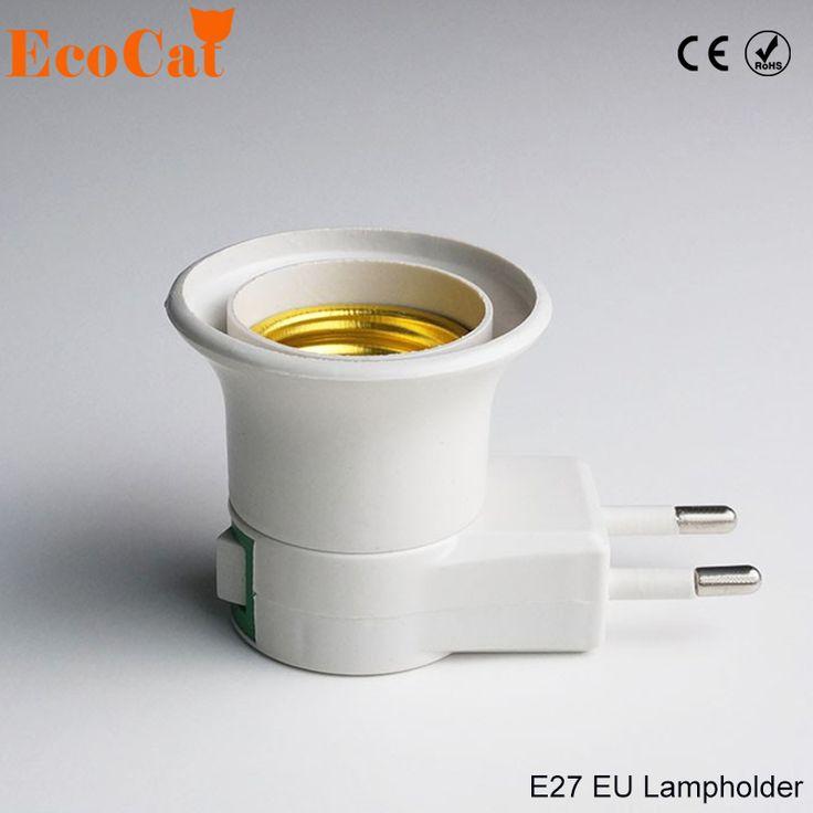 Эко Cat 1 шт. E27 Светодиодная лампа гнездо базы типа 110 В 220 В ЕС Plug держатель лампы конвертер + кнопка включения/выключения переключателя