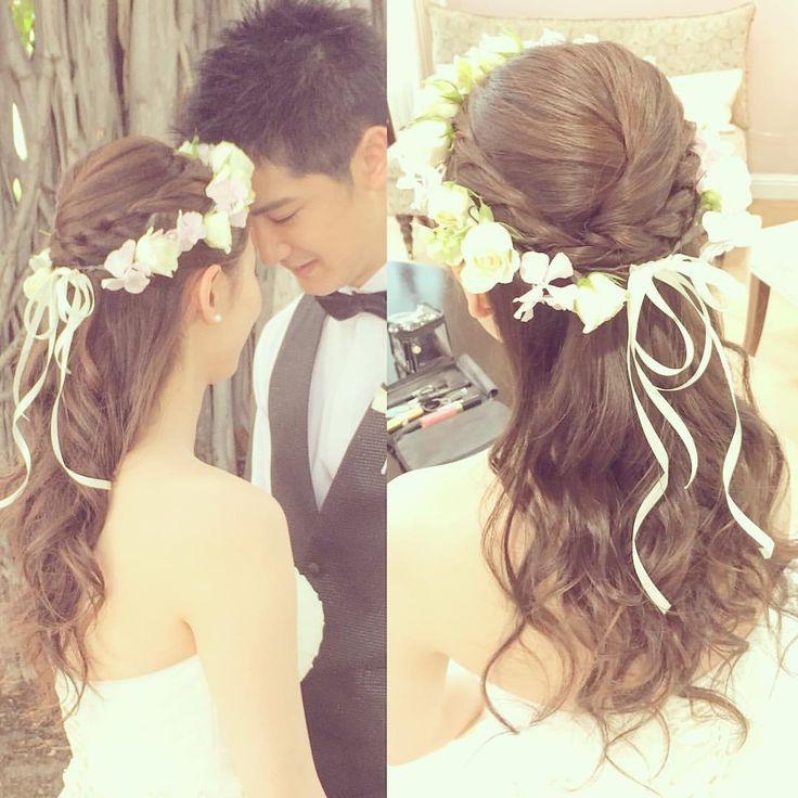 清楚スタイルが好みなお嫁さまのチェンジスタイルはすっきりハーフアップです Congraturation♡ #kumikoprecious #hawaii #hawaiiwedding #wedding #weddinghair #bride #hair #hairmake #hairarrange #hairstyle #halfup #hakulei #ハワイ #ハワイ挙式 #ハワイウェディング #ウェディング #結婚式#花嫁 #プレ花嫁 #おしゃれ花嫁 #ヘアメイク #ヘアスタイル #ヘアアレンジ #ハーフアップ #コテ巻き #ハクレイ #花かんむり