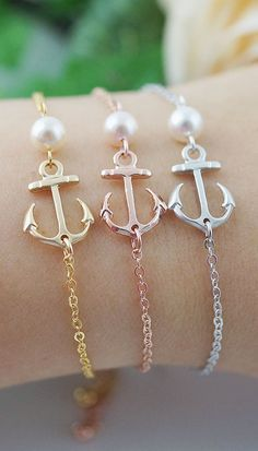 Nautical Weddings Sailor Anchor Charm with Swarovski Pearl Bracelet from EarringsNation Gold Rose Gold Silver Anchor bracelet .