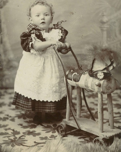 CDV Edwardian Kiddywink Push Along Horse Devonport UK Rocking Horse