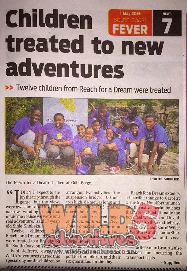 The South Coast Fever features Reach for a Dream Day, an event hosted by Wild 5 Adventures #InnovativeTriumphs