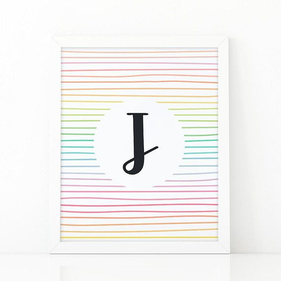 Letter J Initial wall art Colorful  Stripes initial #Nursery #nurseryprints #nurserydecor #etsy #shooshprints #nurserywallart #nurseryprint #digitalprint #wallart #nurserydecor #kids #kidsdecor #etsyseller #etsyshop #decoration #printable #printdesign #printableart #printableart #girlsroomdecor #kidsroomdecor #boysroomdecor #print